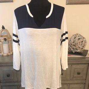 Navy and White Shirt